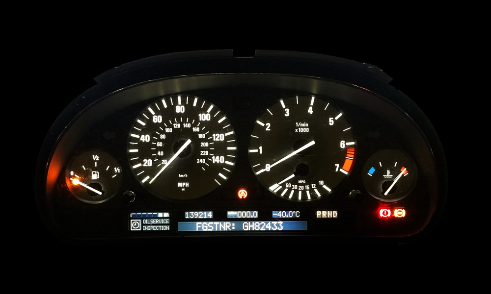Bmw E38 E39 E53 X5 Instrument Cluster White Backlight Led