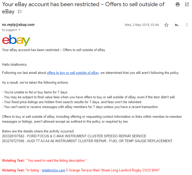 eBay account restricted